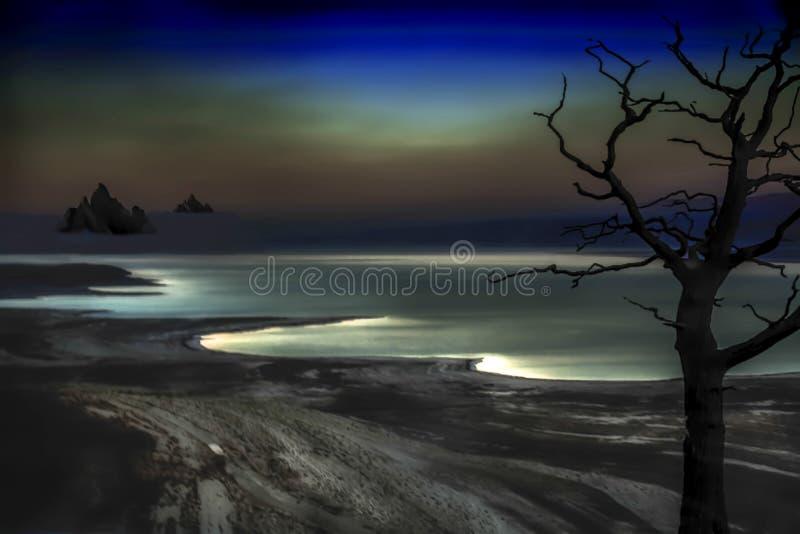 Le portrait de la mer morte en Israël par nuit, le clair de lune intensif réfléchit sur les vagues et crée une totalité fantomati image libre de droits