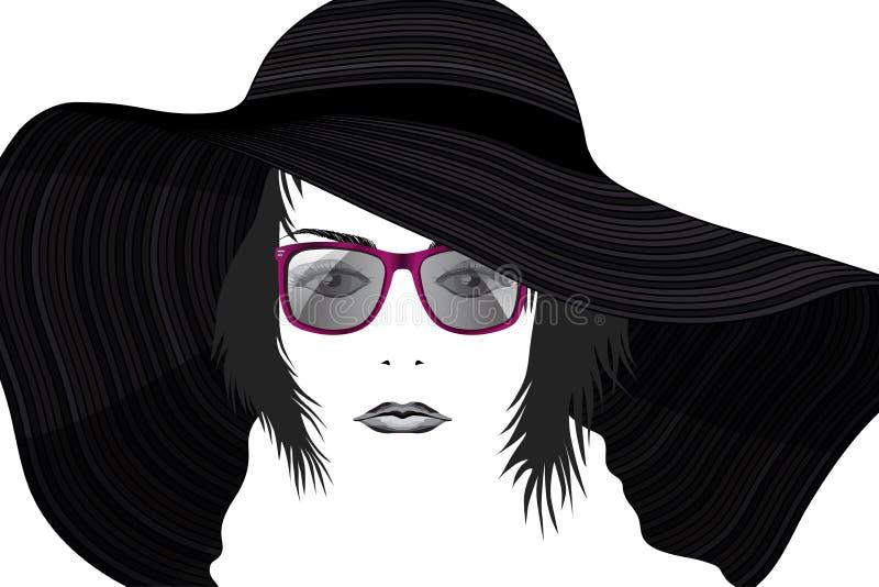 Le portrait de mode de la jeune belle dame dans le chapeau et des lunettes de soleil a stylisé illustration stock