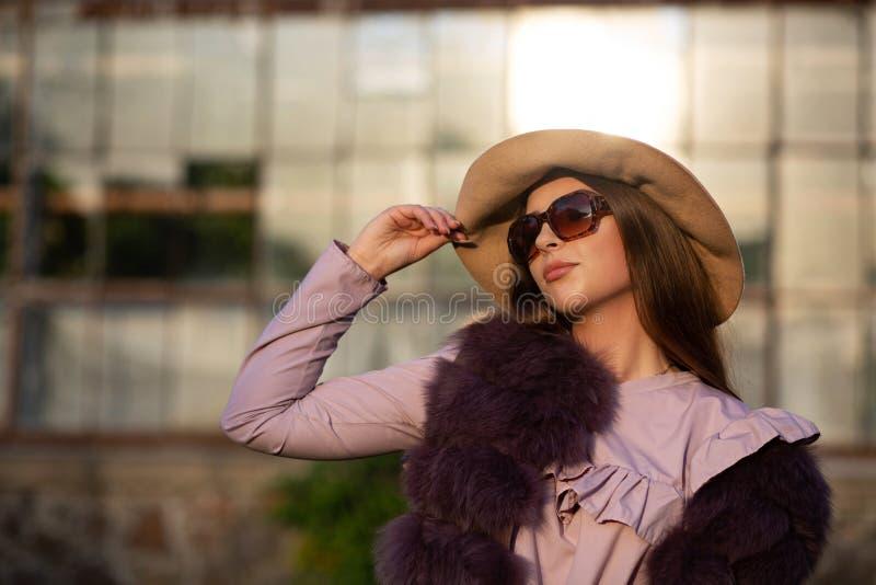 Le portrait de mode de rue du modèle séduisant de brune porte le chapeau, les verres et le manteau L'espace vide photo stock