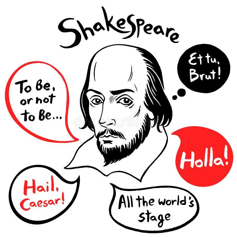 Le portrait de Shakespeare avec des citations et le discours célèbres bouillonne illustration stock