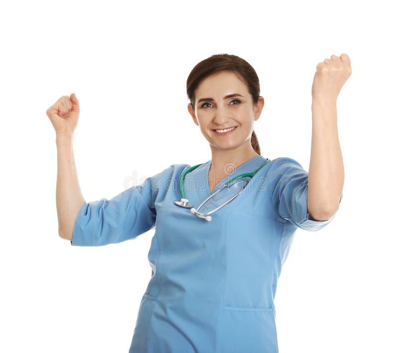 Le portrait du docteur féminin heureux a isolé Personnel m?dical photos libres de droits