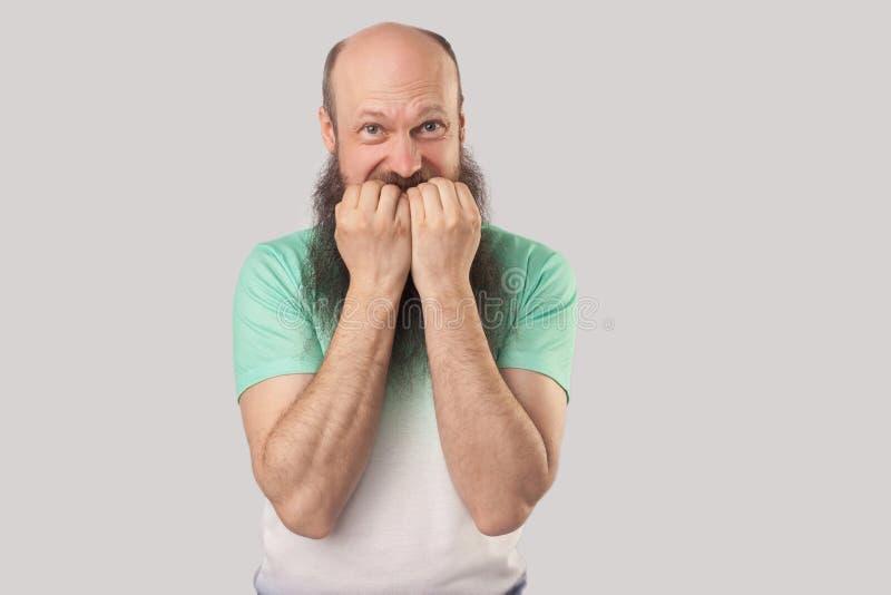 Le portrait du milieu nerveux a vieilli l'homme chauve avec la longue barbe dans la position vert clair de T-shirt, bitting ses c image libre de droits