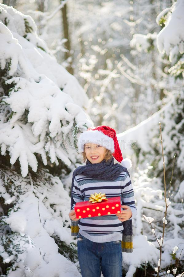 Le portrait du ` s de garçon avec un cadeau dans des mains dans la perspective de la forêt couverte de neige photo libre de droits