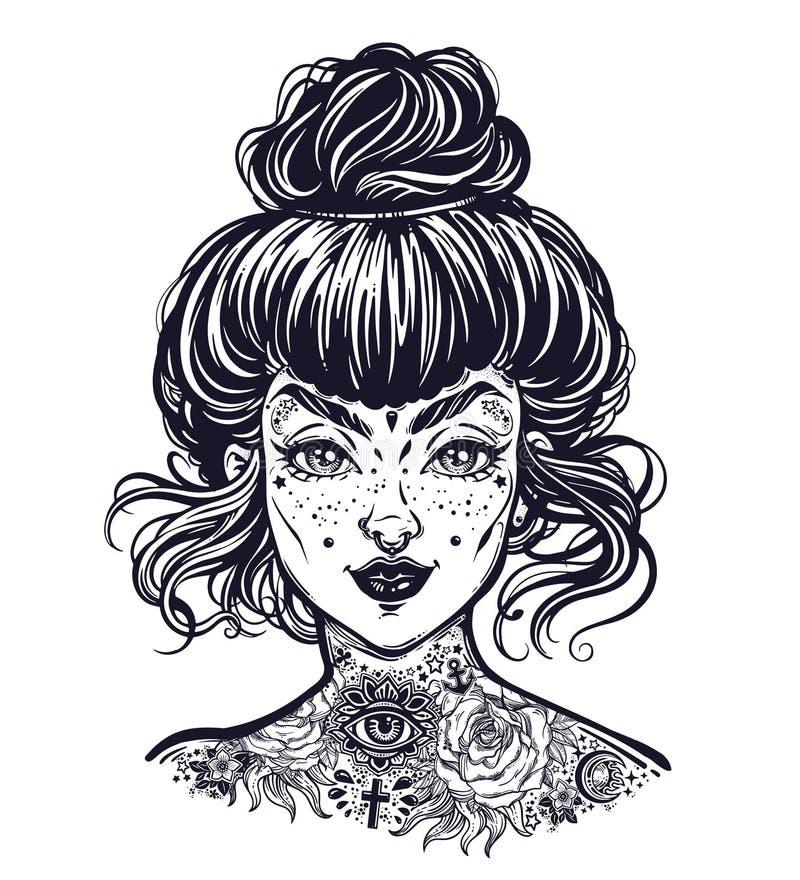 Le portrait encré de femme avec des cheveux de petit pain de vintage faits, clignotent beau visage tatoué de fille avec des tache illustration stock