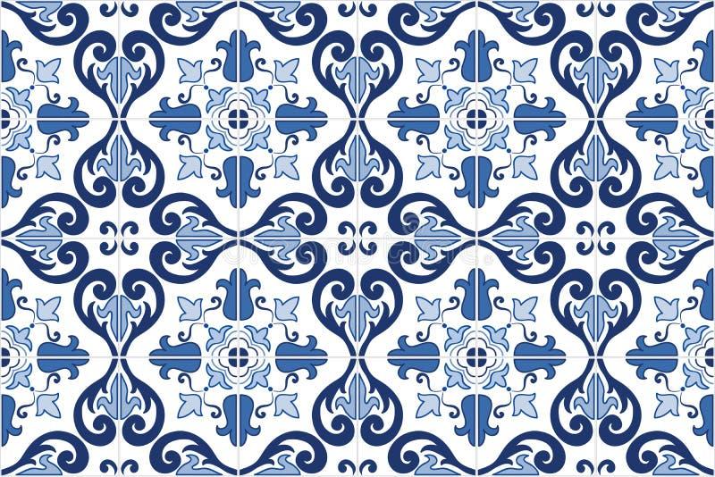 Le Portugais fleuri traditionnel couvre de tuiles des azulejos Illustration de vecteur illustration stock
