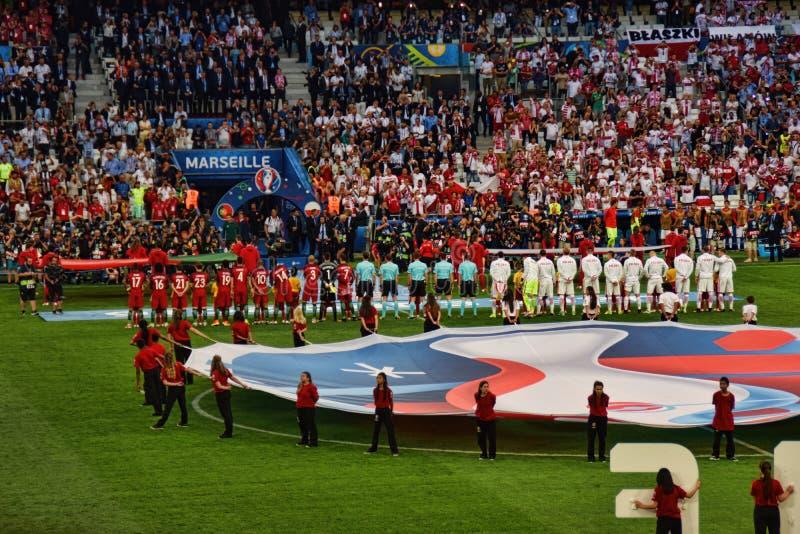 Le Portugal contre l'euro 2016 de la Pologne image stock