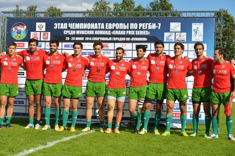 Le Portugal a gagné des médailles d'argent de rugby 7 séries de Grand prix à Moscou photos stock