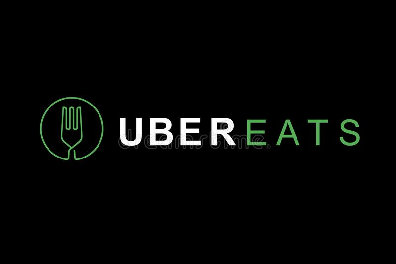 Le Portugal, Lisbonne, le 16 juin 2018 : l'illustration de l'UBER mange le logo Une entreprise populaire pour la livraison de la  photo stock