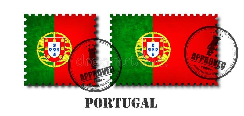Le Portugal ou le timbre-poste portugais de modèle de drapeau avec la vieille texture grunge d'éraflure et apposent un scellé sur illustration libre de droits