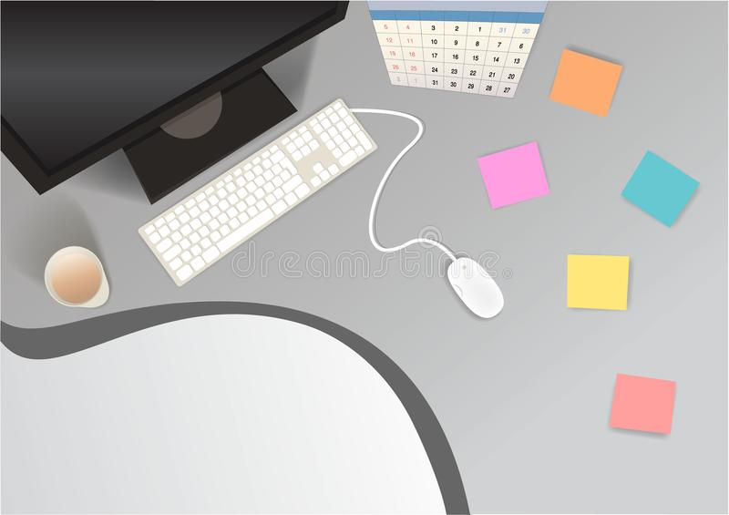 Le poste de travail réaliste de lieu de travail pour le Web/copie illustration libre de droits