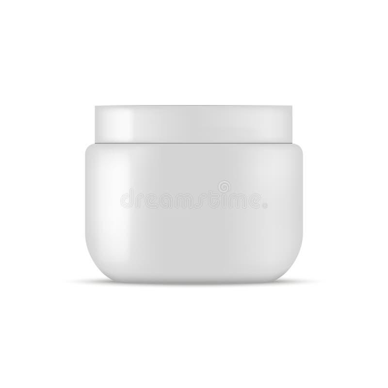 Le pot cosmétique en plastique pour la crème, frottent, gélifient, saupoudrent Maquette de Vecto illustration libre de droits
