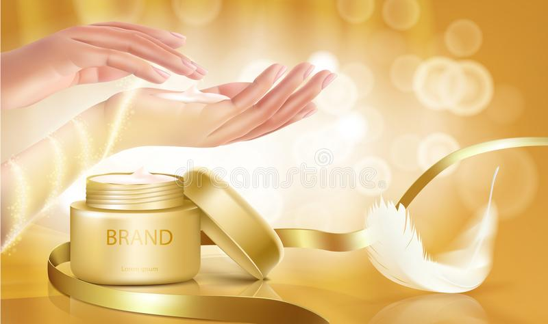 Le pot d'or avec le couvercle ouvert est plein de la crème cosmétique illustration libre de droits