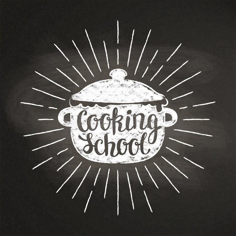 Le pot de ébullition marquent le silhoutte à la craie avec des rayons et l'inscription du soleil - faisant cuire l'école - sur le photographie stock libre de droits