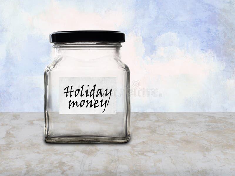 Le pot de l'épargne d'argent de vacances, cognent vide photographie stock