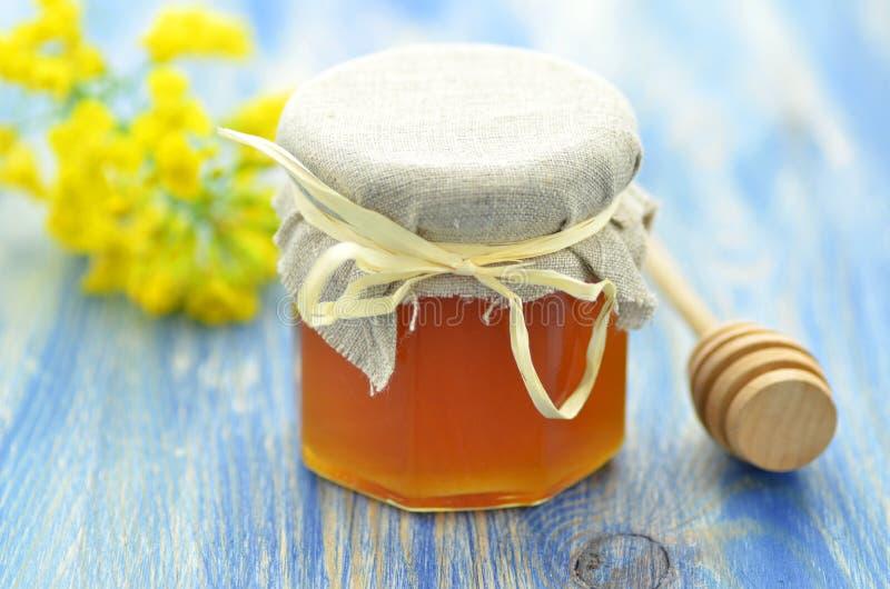 Le pot de miel délicieux dans un pot avec la graine de colza fleurit images libres de droits