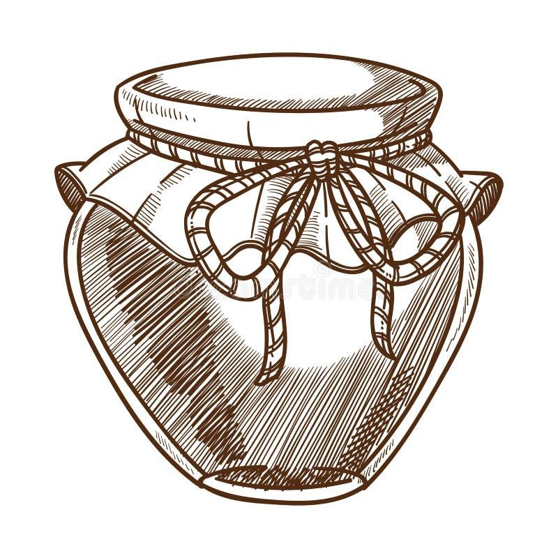 Le pot de miel a isolé le croquis, l'aliment biologique, le rucher et l'apiculture illustration libre de droits