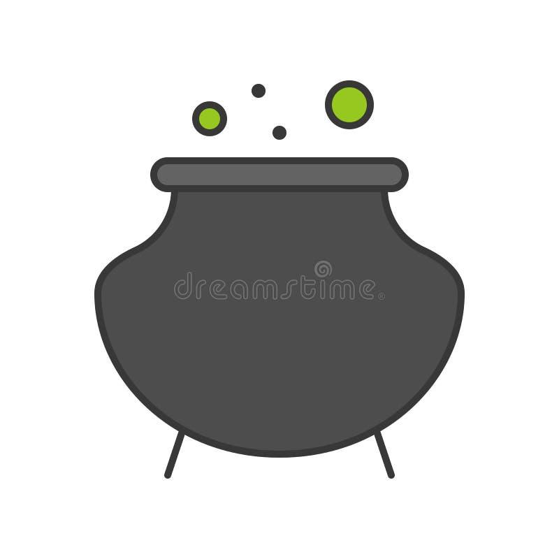 Le pot de sorcière ou le chaudron, Halloween a rapporté l'icône, a rempli contour De illustration de vecteur