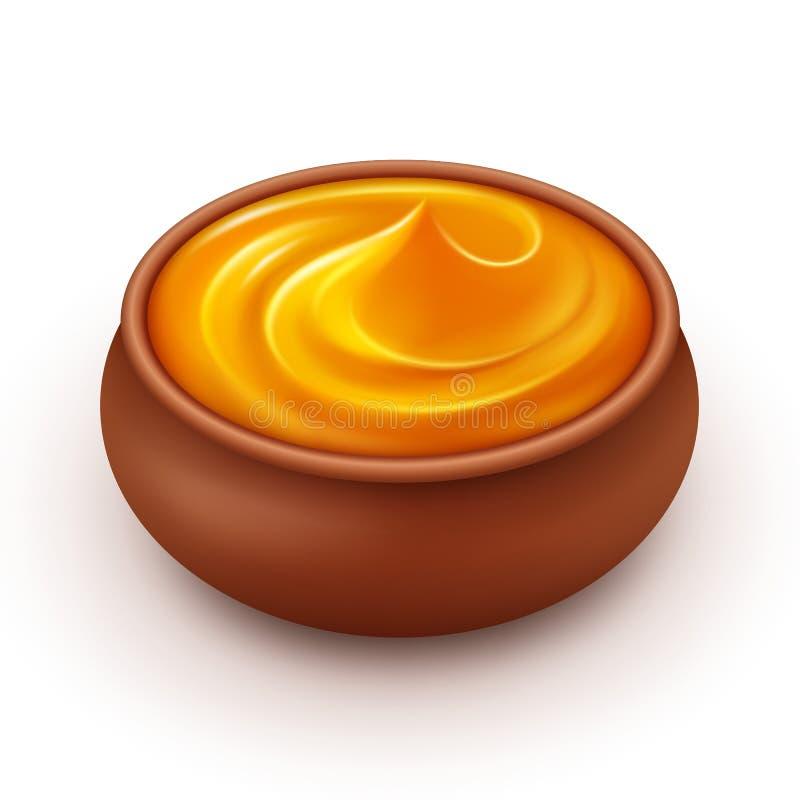 Le pot en céramique d'Amber Honey Close dense a isolé le fond illustration de vecteur
