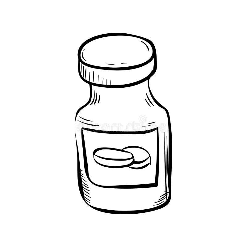 Le pot tiré par la main de pilules gribouillent l'icône Croquis noir tiré par la main Symbole de bande dessinée de signe Élément  illustration de vecteur