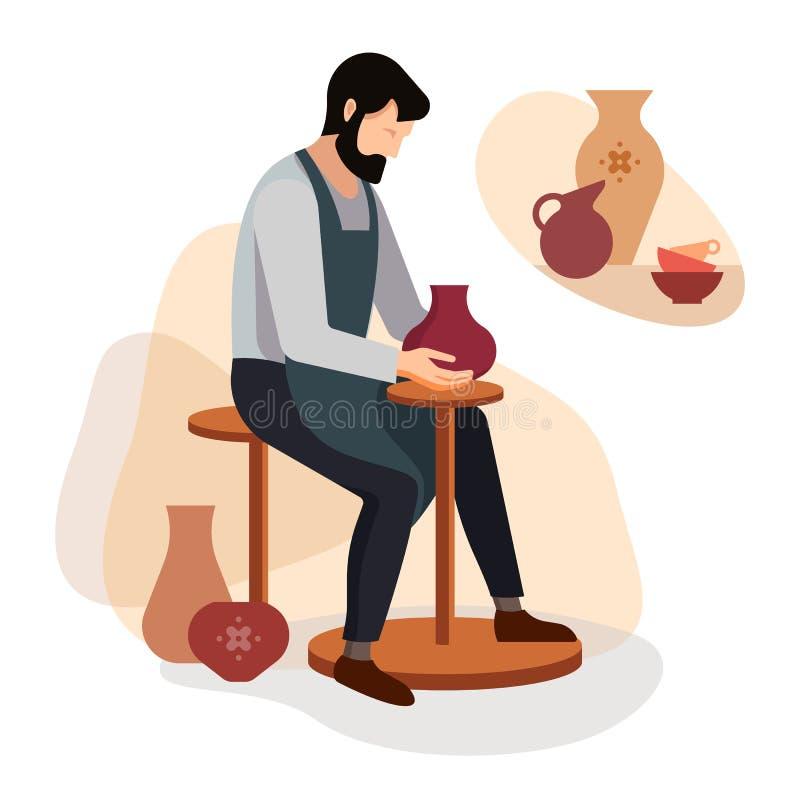 Le potier principal fait un vase à argile Illustration de vecteur du travail d'un artisan de poterie Affiche d'atelier de poterie illustration libre de droits