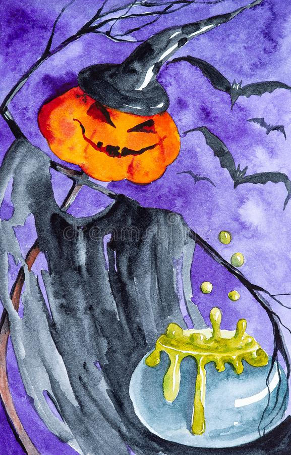 Le potiron Halloween brasse un breuvage magique toxique À l'arrière-plan, battes volantes Illustration d'aquarelle illustration libre de droits