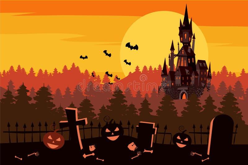 Le potiron heureux de Halloween dans le cimetière, noircissent le château abandonné, forêt sombre d'automne, panorama, coucher du illustration stock
