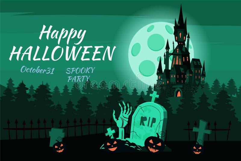 Le potiron heureux de Halloween dans le cimetière, noircissent le château abandonné, forêt sombre d'automne, panorama, nuit d'obs illustration de vecteur