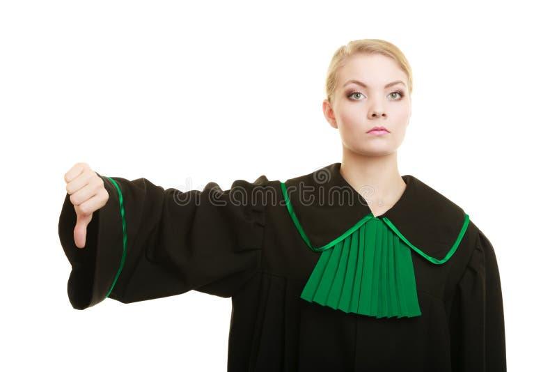 Le pouce d'avocate de femme remettent vers le bas le signe image libre de droits
