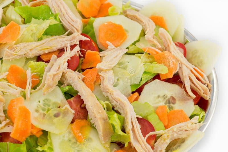 le poulet de cuvette de fond a isolé le blanc de salade de riz de parties de pêche de persil images libres de droits