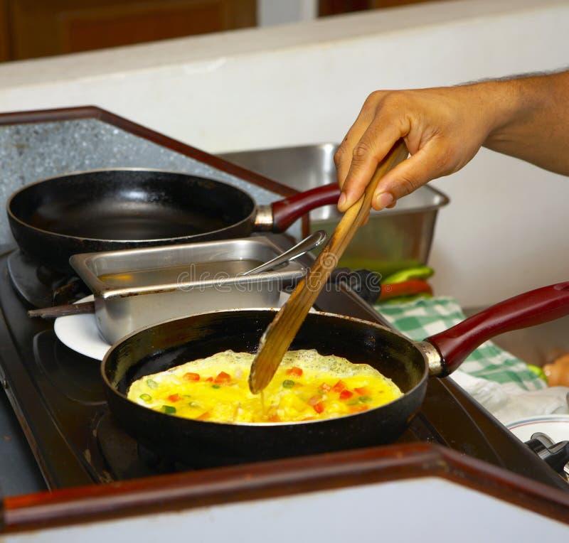 Le poulet eggs l'omelette photographie stock