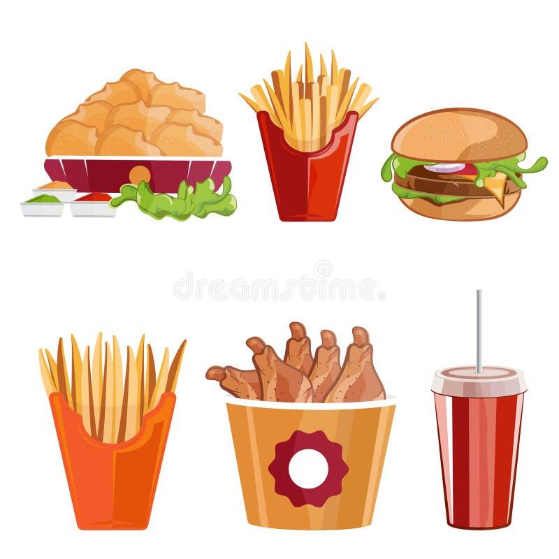 le poulet, les fritures et les aliments de préparation rapide d'hamburger dirigent l'illustration illustration stock