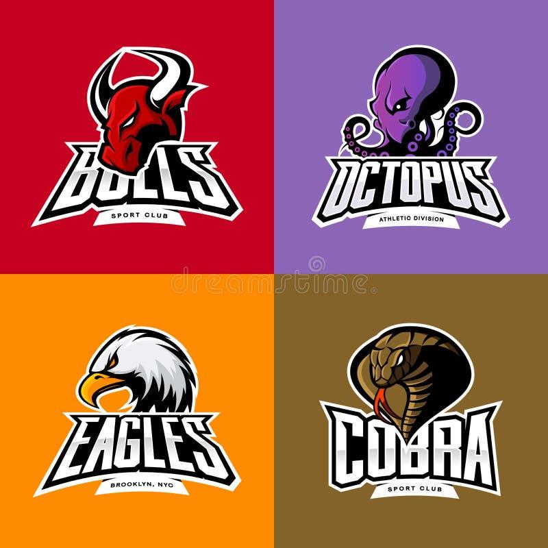 Le poulpe furieux, aigle, cobra, chef de taureau a isolé l'ensemble de concept de logo de sport de vecteur illustration libre de droits
