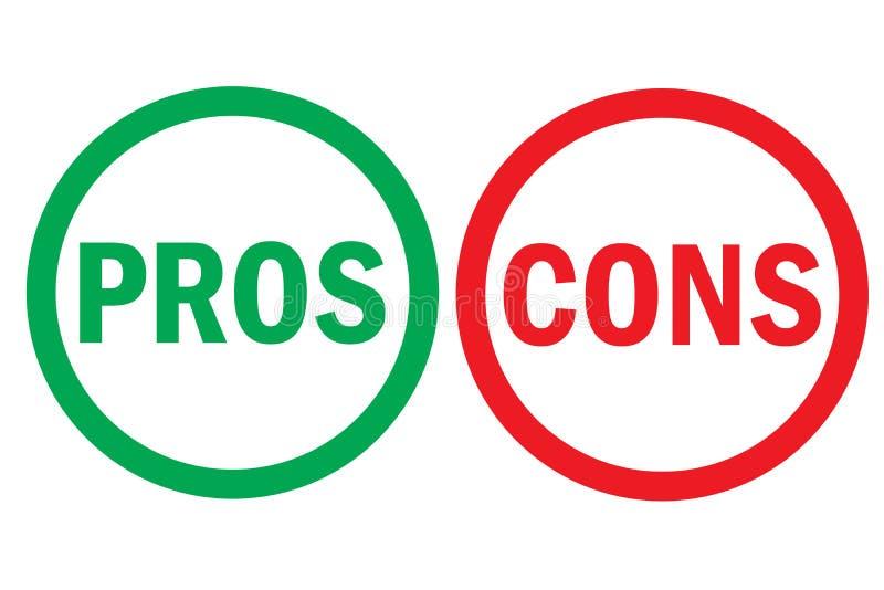 Le pour - et - le contre redresse texte vert gauche rouge de mot d'analyse fausse le bon sur des boutons de cercle à l'arrière-pl illustration libre de droits
