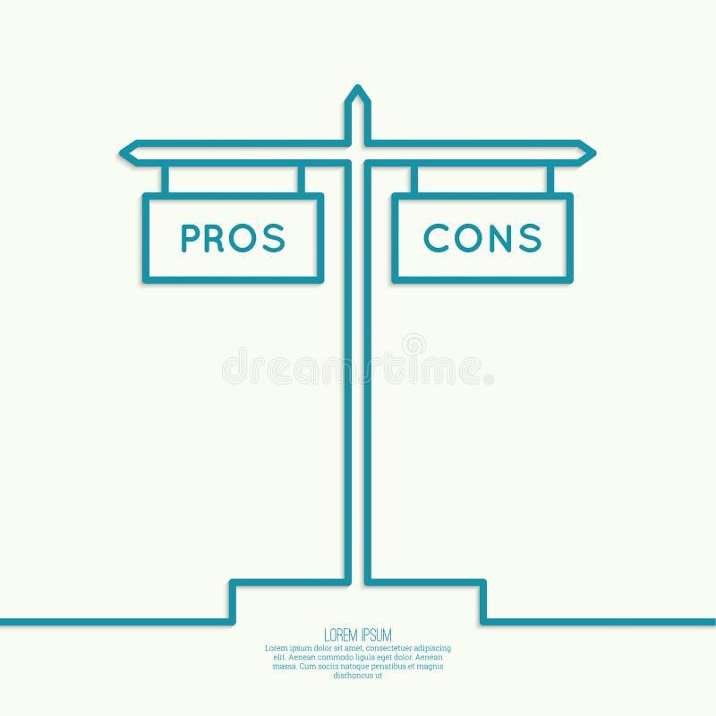Le pour - et - liste du contre illustration libre de droits