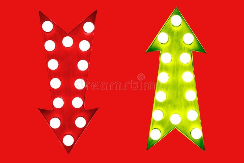 Le pour - et - rouge du contre vers le bas et vert vers le haut de rétros flèches de vintage illuminées avec les ampoules L'image images stock