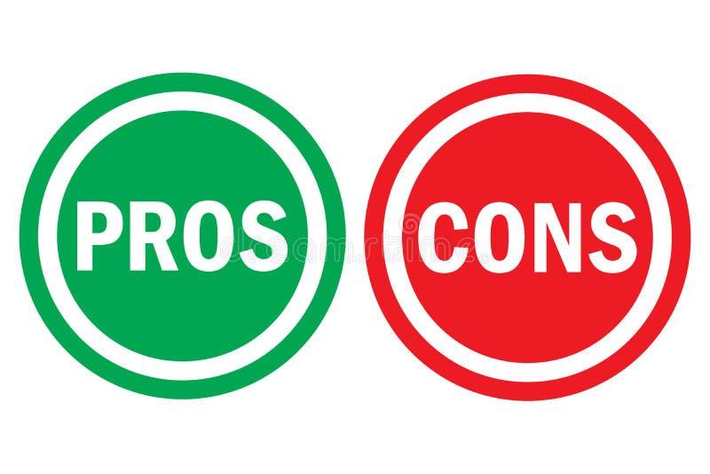 Le pour - et - texte vert gauche rouge de mot d'analyse d'évaluation du contre bon sur des boutons de cercle à l'arrière-plan tra illustration stock