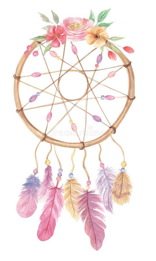 Le pourpre de fleurs de bohémien de Dreamcatcher d'aquarelle fait varier le pas du bouquet de feuilles de baies illustration libre de droits