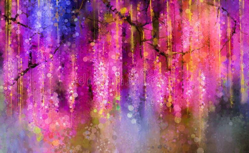 Le pourpre de ressort fleurit la glycine Peinture d'aquarelle illustration libre de droits