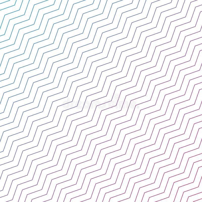 Le pourpre diagonal sans couture et les lignes bleues de zigzag donnent une consistance rugueuse à l'arrière-plan blanc illustration stock