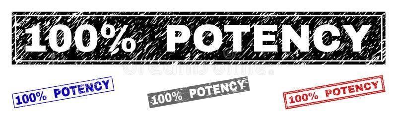 Le POUVOIR grunge de 100 pour cent a rayé des joints de timbre de rectangle illustration de vecteur
