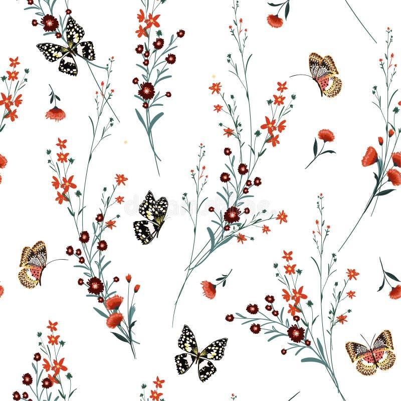 Le pré fleurit le soufflement dans le vent avec le doux de papillons et la GEN illustration libre de droits