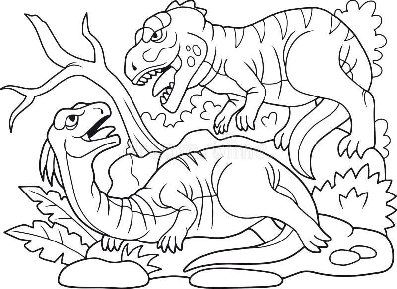 Le prédateur carnivore mauvais a attaqué un dinosaure herbivore illustration libre de droits