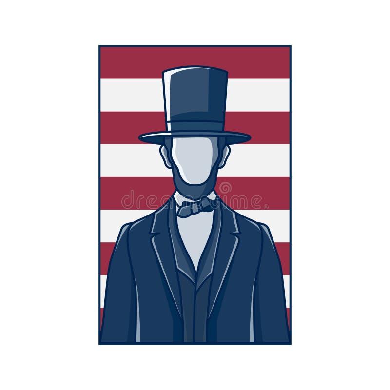 Le Président Abraham Lincoln, rétro conception illustration de vecteur