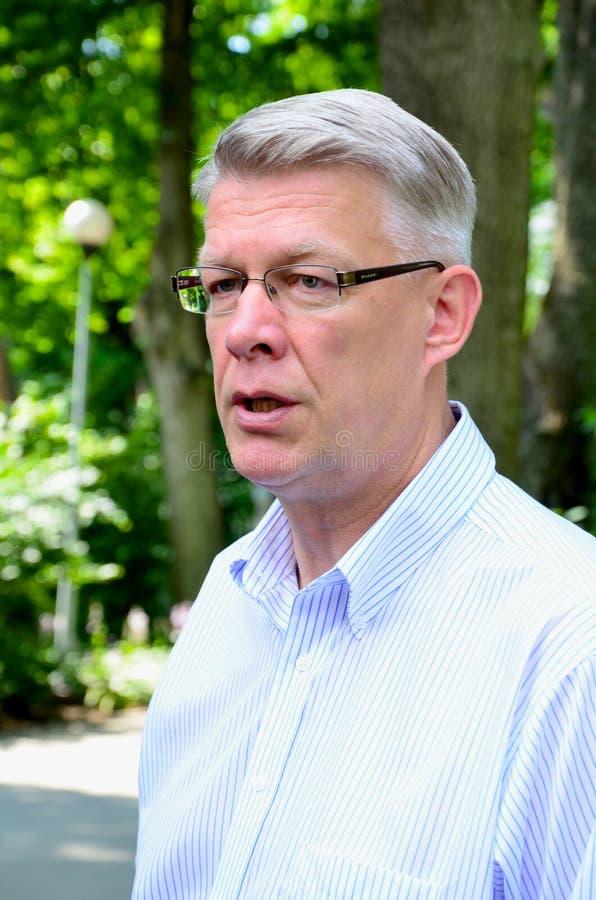 Le Président letton Valdis Zatlers à son adieu m image stock