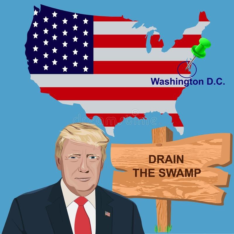 Le Président Trump avec un drain de signe le marais illustration libre de droits