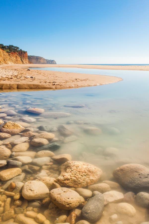 Le Praia font Porto de Mós, Lagos, Algarve images libres de droits