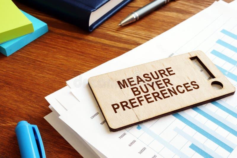 Le preferenze del compratore della misura firmano Ricerca di comportamento fotografia stock libera da diritti
