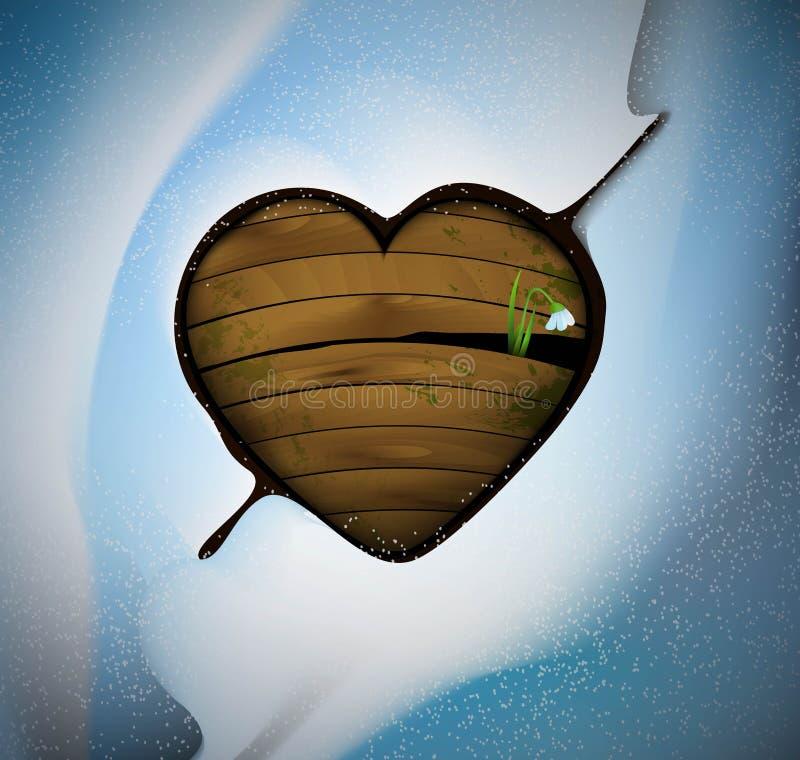 Le premier concept d'amour, jaillissent idée romantique, wodden le coeur avec la pousse de perce-neige de fleur à l'intérieur, illustration stock