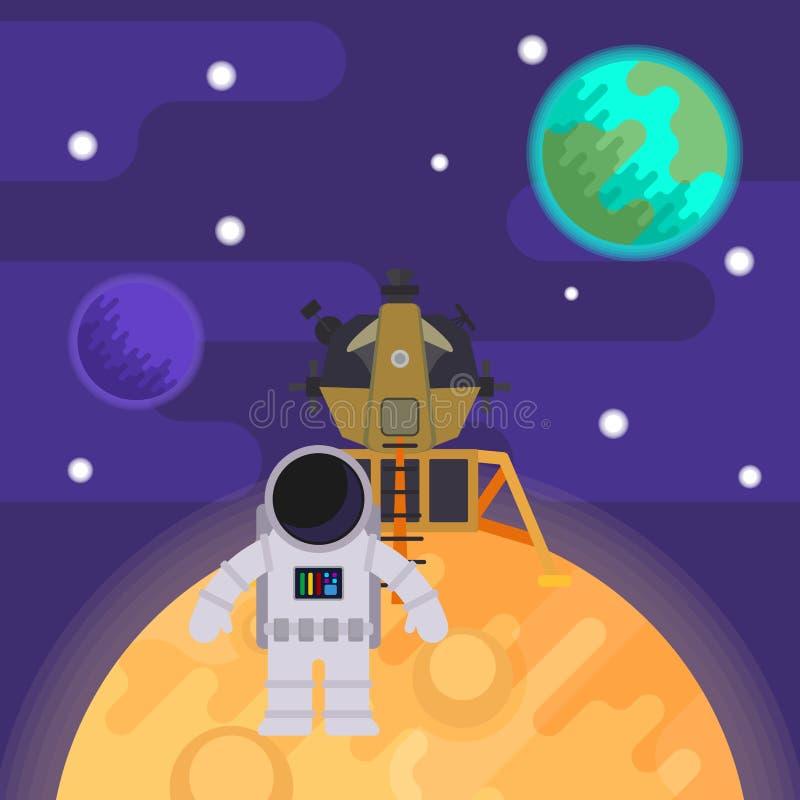 Le premier homme sur la lune, Apollo 11 Illustration plate de vecteur illustration libre de droits
