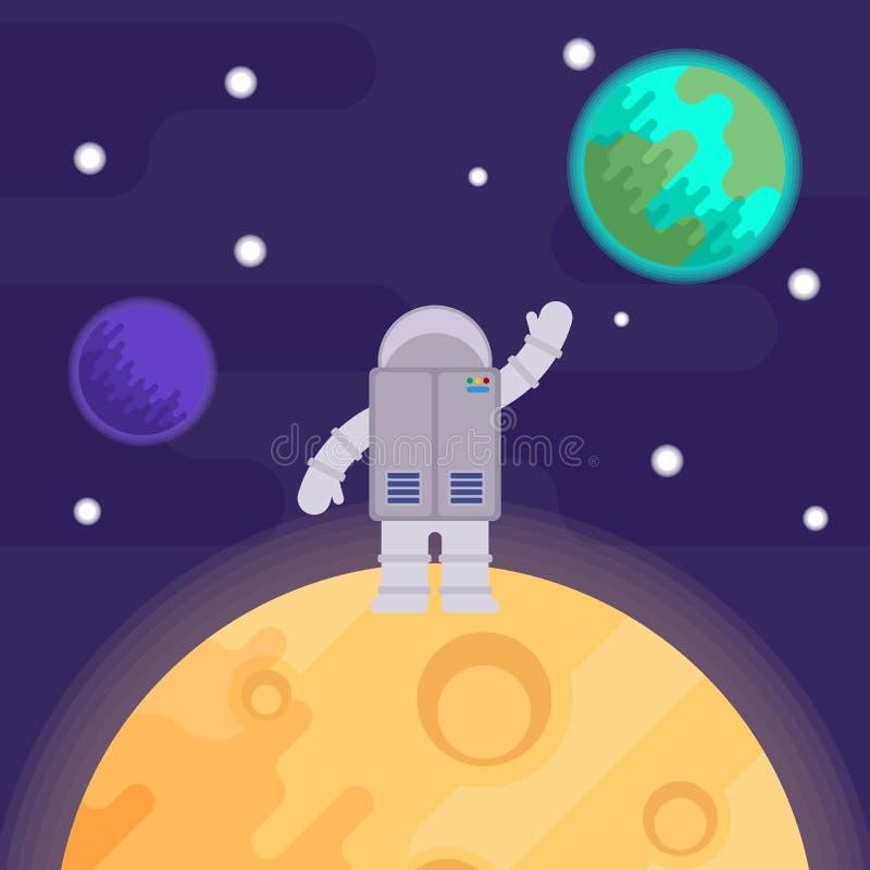Le premier homme sur la lune, Apollo 11 Illustration plate de vecteur illustration de vecteur